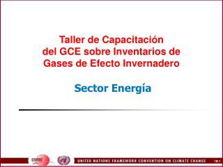 Taller de Capacitaci n del GCE sobre Inventarios de Gases de Efecto Invernadero   Sector Energ a