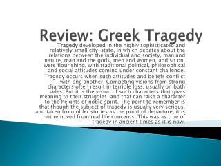 Review: Greek Tragedy