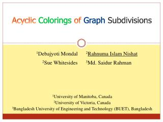 Acyclic  Colorings  of  Graph Subdivisions