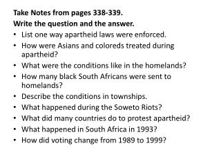 Take Notes from pages  338-339.  Write the question and the answer.