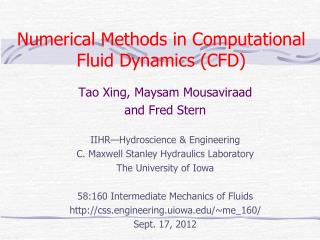 Numerical Methods in Computational Fluid Dynamics (CFD)