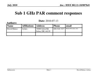 Sub 1 GHz PAR comment responses
