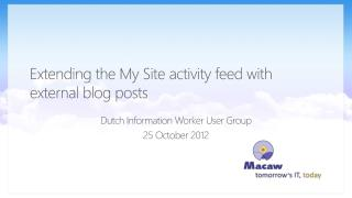 Extending the My Site activity feed with external blog posts