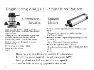 Engineering Analysis – Spindle  vs  Router