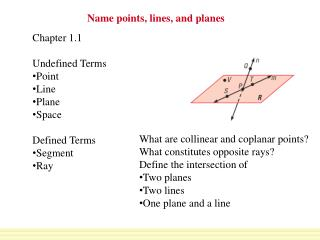 Name points, lines, and planes