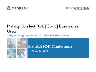 Scottish  IOR  Conference 1st November, 2013