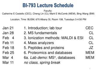 BI-793 Lecture  Schedule