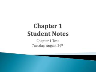Chapter 1  Student Notes