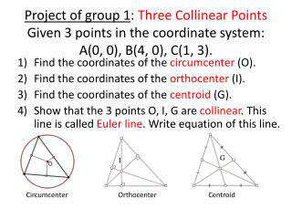 Find the coordinates of the  circumcenter  (O). Find the coordinates of the  orthocenter  (I).