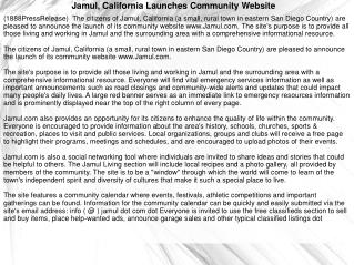 Jamul, California Launches Community Website