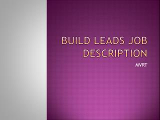 Build Leads Job Description