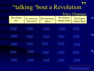 """talking 'bout a Revolution "" -Tracy Chapman"