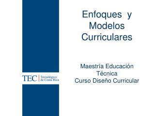 Enfoques  y Modelos Curriculares