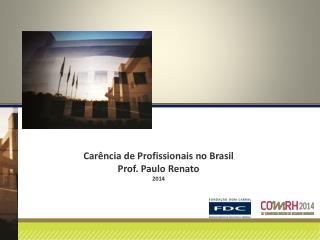 Carência de Profissionais no Brasil Prof.  Paulo Renato 2014
