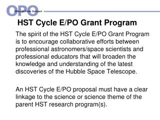 HST Cycle E/PO  Grant Program