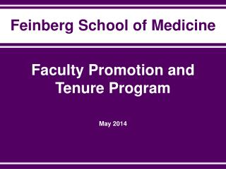 Faculty Promotion and Tenure Program  May 2014