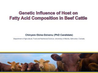 Genetic Influence of Host on  Fatty Acid Composition in Beef Cattle