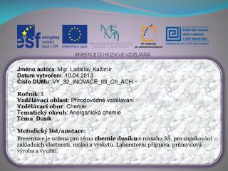 Jméno autora : Mgr. Ladislav  Kažimír Datum vytvoření : 10.04.2013