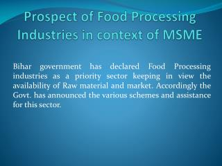 Prospect of Food Processing Industries in context of MSME