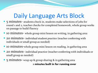 Daily Language Arts Block