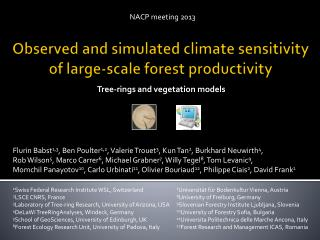 Observed  and  simulated climate sensitivity of  large-scale forest productivity