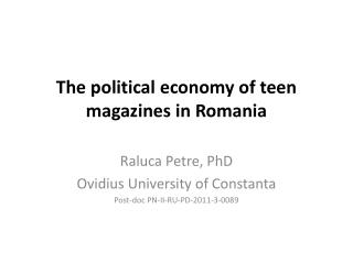 The  political economy of teen magazines in Romania