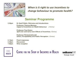 Seminar Programme 5.30pm 	Dr Geoff Watts: Welcome and Introductions