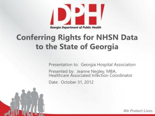 Conferring Rights for NHSN Data to the State of Georgia