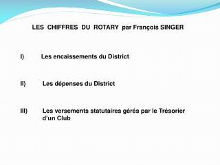 LES  CHIFFRES  DU  ROTARY  par François SINGER      Les encaissements du District