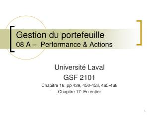Gestion du portefeuille 08 A �  Performance & Actions