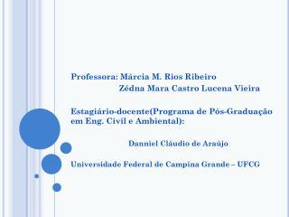 Professora: Márcia M. Rios Ribeiro Zédna  Mara Castro Lucena Vieira