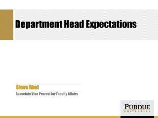 Department Head Expectations
