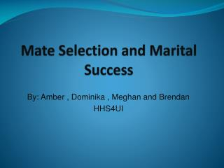 Mate Selection and Marital Success