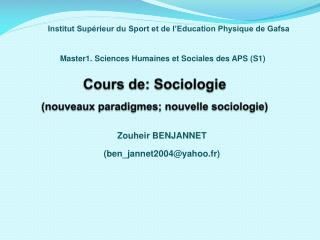 Cours de: Sociologie (nouveaux paradigmes; nouvelle sociologie)