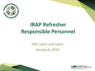 IRAP Refresher Responsible Personnel