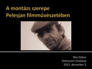 A montázs szerepe  Pelesjan filmművészetében