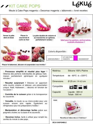 Moule à  Cake Pops magenta + Decomax magenta  +  bâtonnets  +  livret recettes