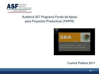 Auditoría 357 Programa Fondo de Apoyo  para Proyectos Productivos (FAPPA)