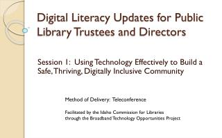 Digital Literacy Updates for Public Library Trustees and Directors