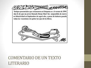 COMENTARIO DE UN TEXTO LITERARIO