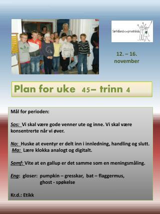 Plan for uke  45 – trinn  4