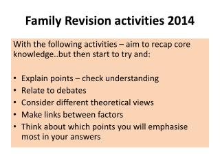 Family Revision activities 2014