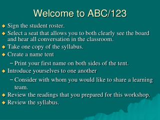 Welcome to ABC/123