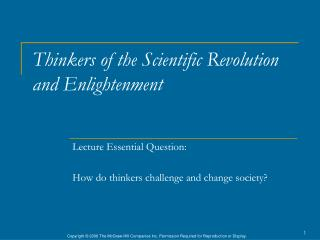 Thinkers  of the Scientific Revolution and Enlightenment