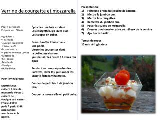 Verrine de courgette et mozzarella
