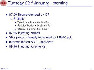 Tuesday 22 nd  January - morning
