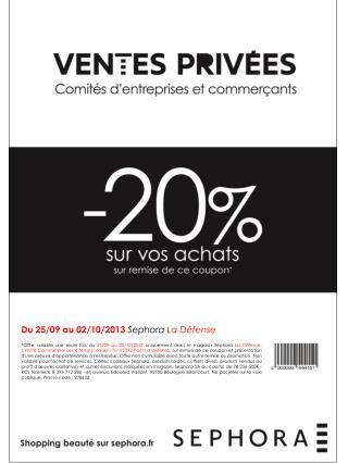 Du  25 /09  au  02/10/2013  Sephora  La Défense