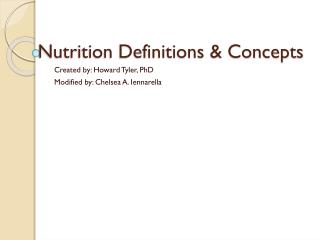 Nutrition Definitions & Concepts
