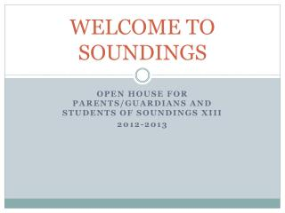 WELCOME TO SOUNDINGS