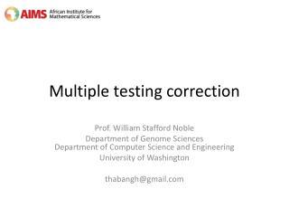 Multiple  testing correction